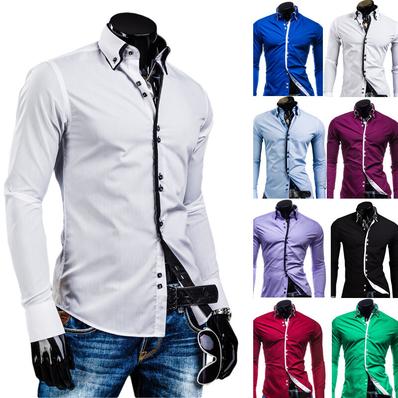 Men Shirt Luxury Brand 2018 Male Long Sleeve Shirts Casual Solid Multi Button Hit Color Slim Fit Dress Shirts Mens Hawaiian Xxxl Bestdealplus