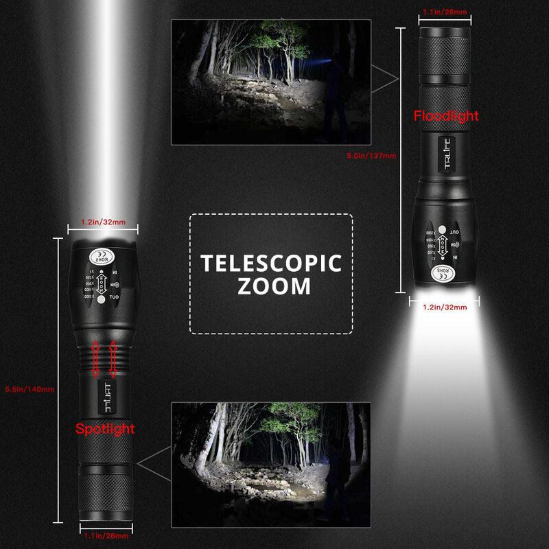V6 T6 L2 lampe tactique torche LED ultra lumineuse lampe de poche 200m éclairage Camping Zoomable lampes de poche 5 modes utilisation 18650 batterie