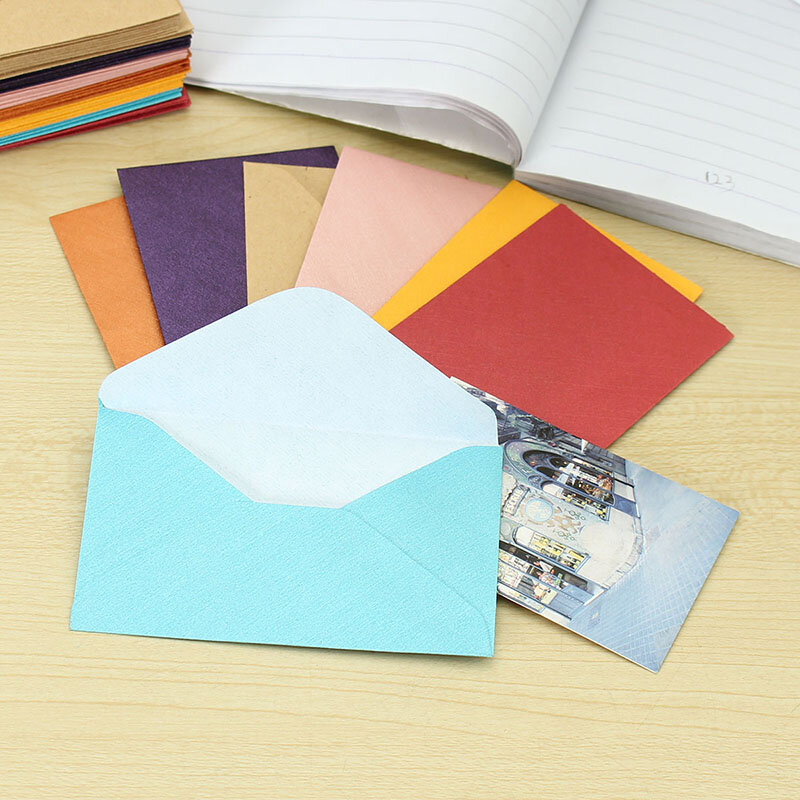 50 Uds. De minisobres de papel en blanco Retro de Estilo Vintage para fiestas de boda, sobre de invitación, tarjetas de felicitación, sobre de regalo