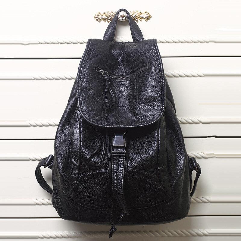 حقيبة ظهر جلدية مغسولة عالية الجودة للنساء ، حقيبة مدرسية للبنات ، حقيبة سفر