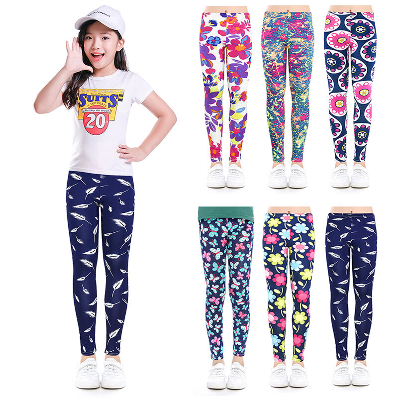 BURFLY Baby Floral Print Pencil Pants Leggings For 3-13 Ages Kids Girls