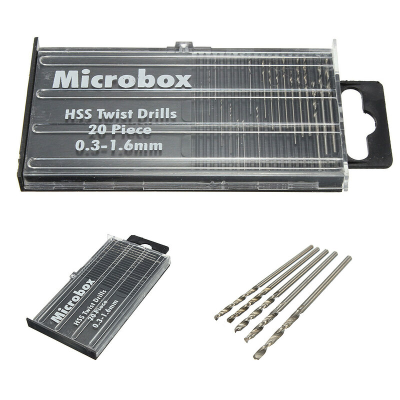 Più nuovo 20 pz/set 0.3 millimetri-1.6mm Mini Ad Alta Velocità In Acciaio HSS Micro Twist Punta del trapano Set Utensili elettrici Modello di Mestiere con il Caso di Parti di Riparazione