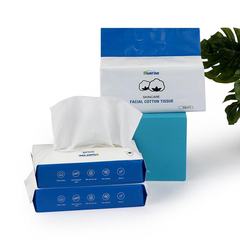 Bluerise 100 قطعة المكياج مزيل منشفة العناية بالبشرة الوجه القطن الأنسجة الوبر خالية من القطن الخالص منشفة ناعمة للبشرة الحساسة ورق صحية