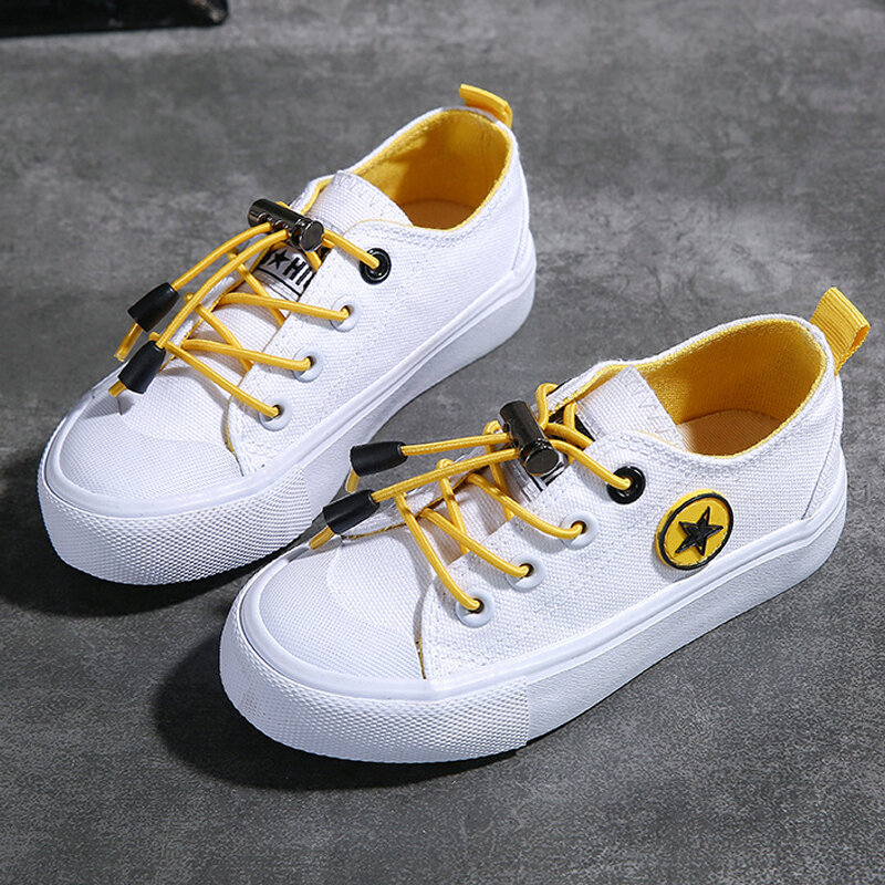 Little Girls Kids Fashion Lace Up Classic Low Top Canvas Tennis Shoes Sneakers