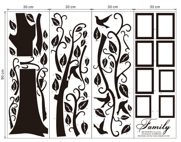 무료 배송: 대형 200*250 Cm/79 * 99in 블랙 3D DIY 사진 나무 PVC 벽 스티커/접착제 가족 벽 스티커 벽화 아트 홈 장식