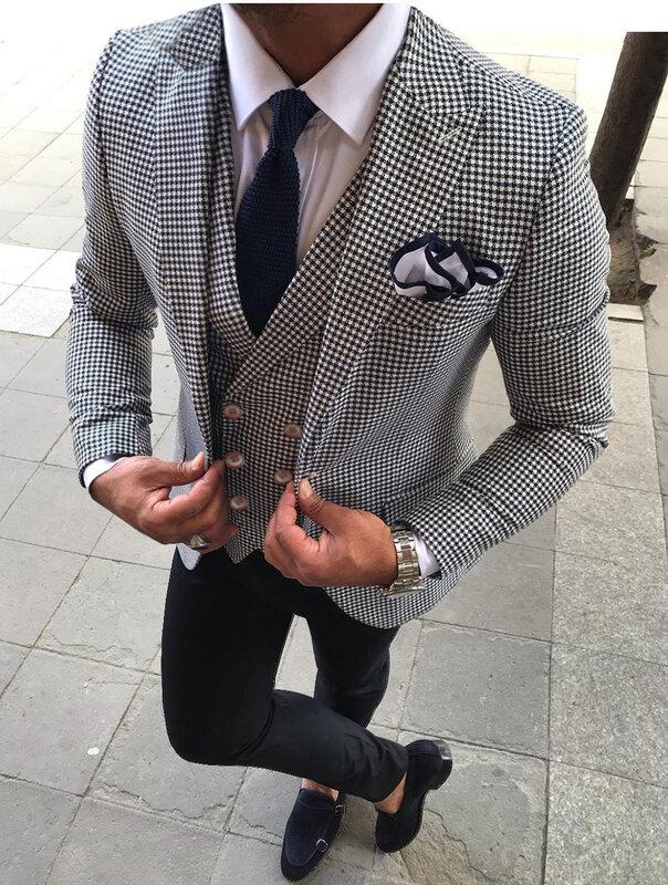 Trajes De Hombre Blanco Formal 3 Piezas A Cuadros Esmoquin Con Muescas En La Solapa Trajes De Boda Para Padrinos De Boda 2019 Chaqueta Chaleco Pantalones Bestdealplus