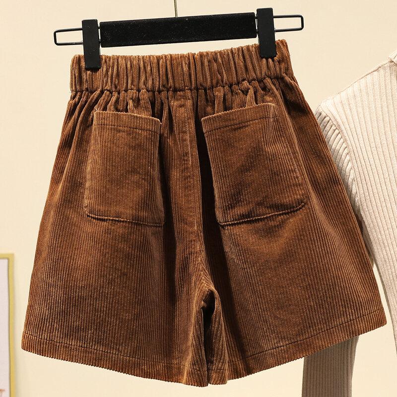 Dimanaf Pantalones Cortos De Talla Grande Para Mujer De Pana De Cintura Alta A La Moda Estilo Coreano S 5xl Grande 2021 Bestdealplus