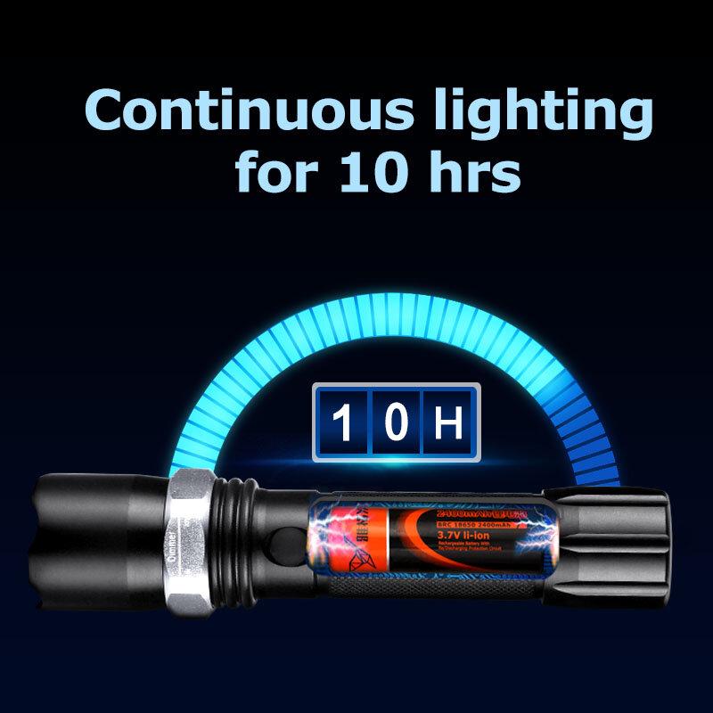 방수 전술 손전등 1800mAh 18650 충전식 플래시 라이트 크리 어 XP-E LED 손전등 터치 랜턴 로터스 헤드 메탈