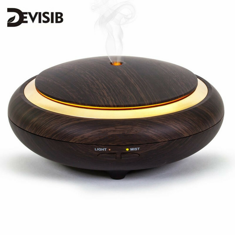 DEVISIB UFO Ätherisches Öl Diffusor Holzmaserung 150ml Ultraschall Aroma Kühlen Nebel-luftbefeuchter forOffice Schlafzimmer Baby Zimmer Studie Yoga