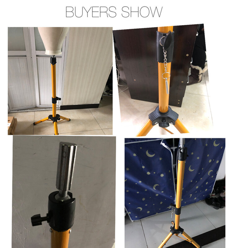 25inch canvas head Alileader New 125Cm Wig Stand Wig Tripod With Mannequin Canvas Block Head Adjustable Tripod Stand And Wig Making kit TPins Gift