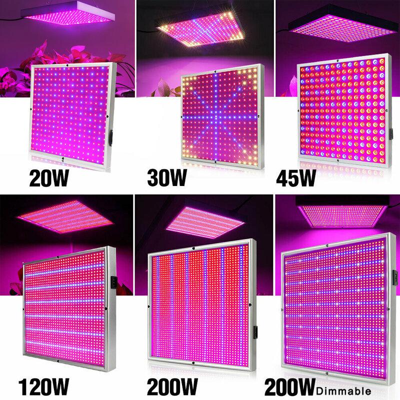 مصباح لوحي LED لزراعة النباتات ، لوحة إضاءة كاملة الطيف AC85 ~ 120 V لنباتات الدفيئة والزهور المائية ، 20W/30W/45W/200W/265 W