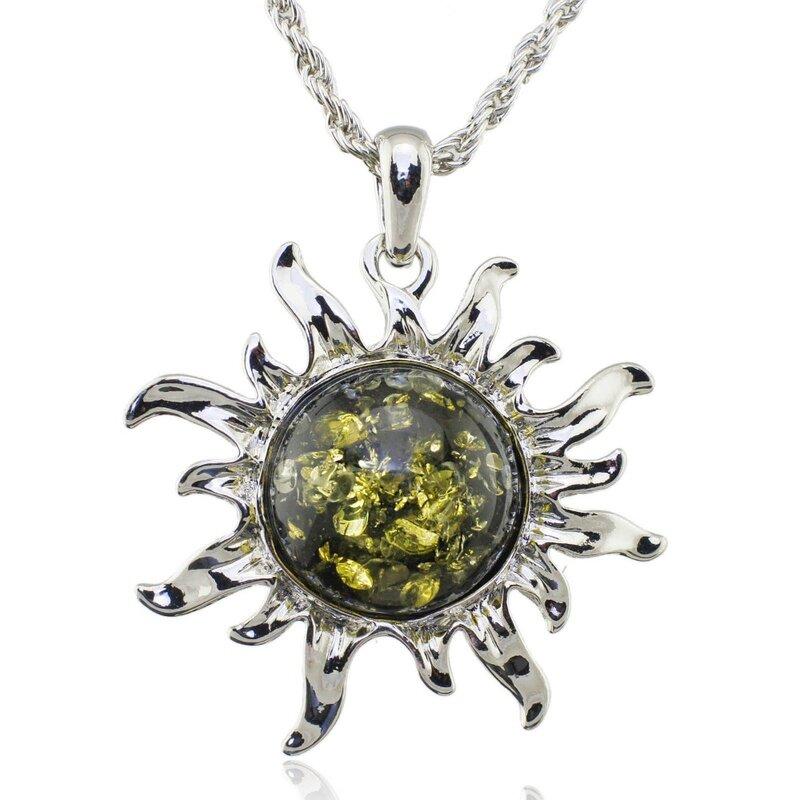 مجوهرات L00301 قلادة عصرية مثيرة مصنوعة من عسل البلطيق ومزودة بحلي الحظ