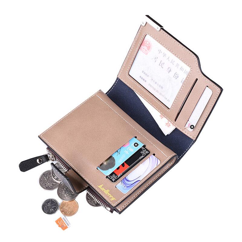 Baellerry-billetera de cuero para hombre, monedero corto, de mano, de cuero, garantía de calidad