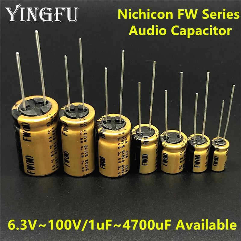 NICHICON-condensador para equipo de Audio HIFI, serie FW, 6,3 V ~ 100V/1uF ~ 4700uF, disponible
