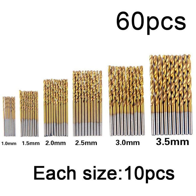 50/60/99 Uds Set de puntas de taladro en espiral HSS Shank recubierto de titanio de acero de alta velocidad Mini taladro 1-10mm de plástico de madera de acero de aleación