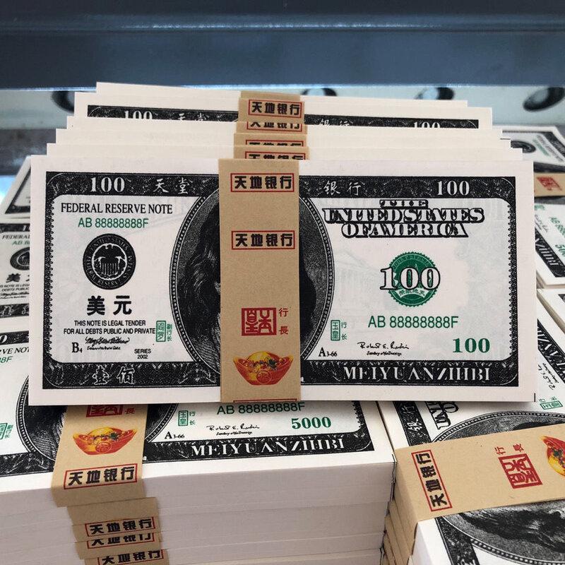 100 Uds. De dinero de juguete, broma, tamaño Real, 20 50 billetes de Euro, Heaven and hell Joss, papel falso de EE. UU., 100 dólares, no dinero real