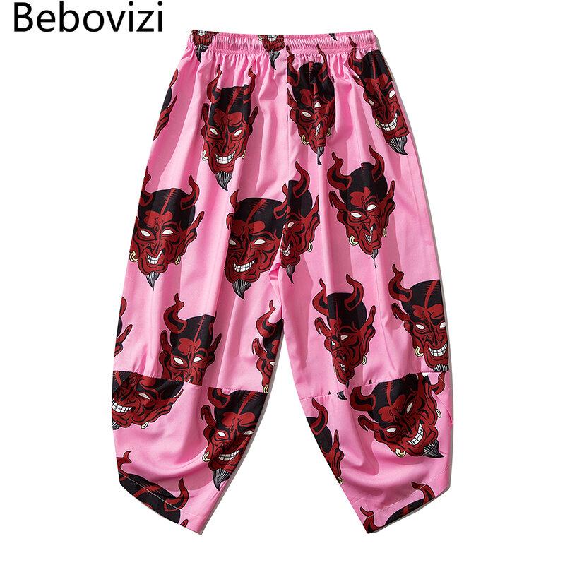 Bebovizi Pantalones Tipo Kimono Finos Para Hombre Y Mujer Pantalon Con Estampado De Demonio Y Harajuku Japones Vintage Cintura Elastica Informal Haren Tradicional Color Rosa Ropa Del Mundo