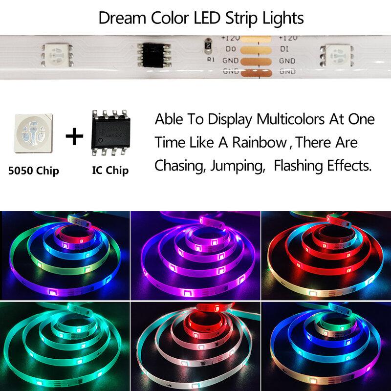 DreamColor-tira de luces LED para cocina, dormitorio y fiesta, luces flexibles impermeables con Bluetooth, sincronización de música, Control por aplicación, Arco Iris, RGB, IC