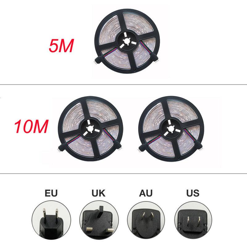 Tira de luces LED IR RGB 5050 2835, cinta de lámpara Flexible impermeable con cinta de diodo DC 12V 5M 10M 32,8 pies 20M