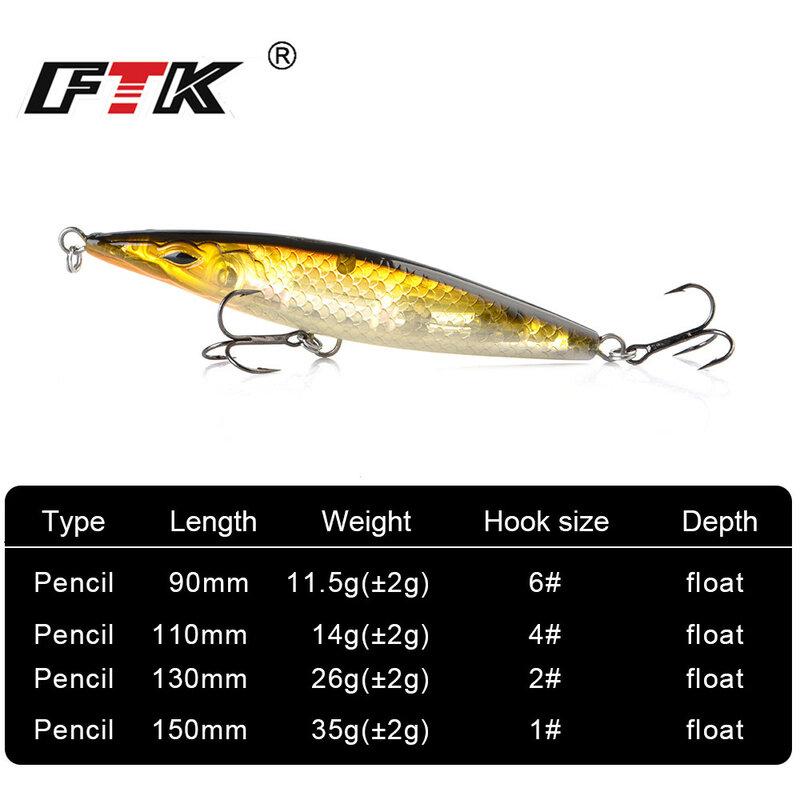 ลอยดินสอตกปลาLure Stickbait Wobblersเหยื่อTopwaterยาวหล่อHardล่อปลาSeabass 90 มม./110 มม./130 มม./150 มม.