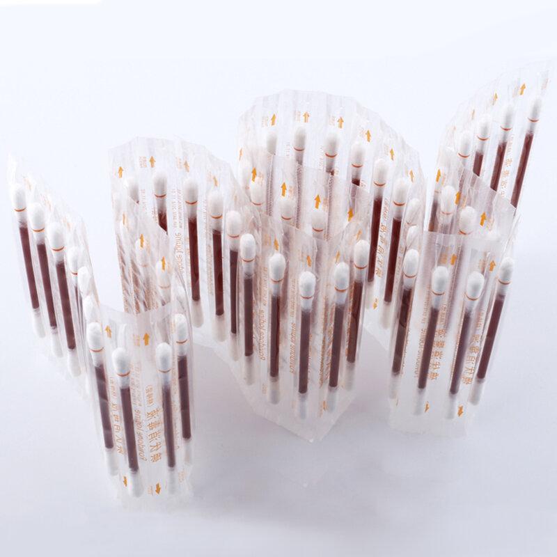 10/50 개/갑 의료 면화 버드 양면 멸균 Povidone Lodine 액체 채워진 면봉 응급 처치 용품 응급 키트