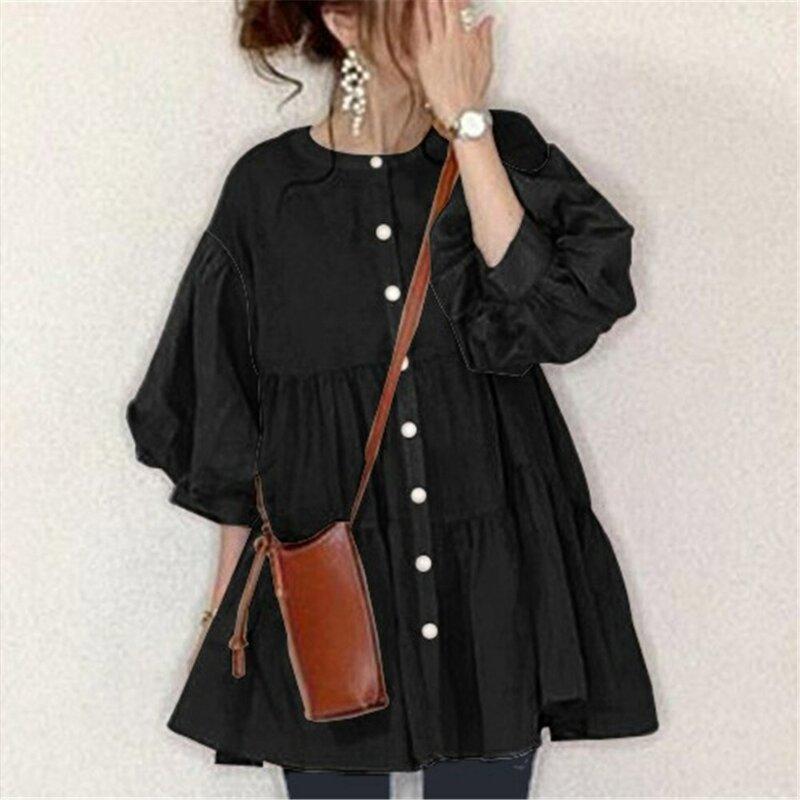 Blusa de estilo coreano con manga abombada para Primavera de gran tamaño, camisa fina con volantes para mujer, estilo japonés