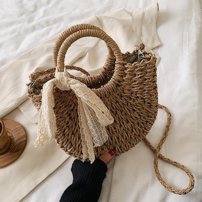OLSITTI Straw Bag Women Woven Handbag Moon Shape Lace Bow Rattan Bag Big Capacity Drawstring Casual Beach Shoulder Crossbody Bag