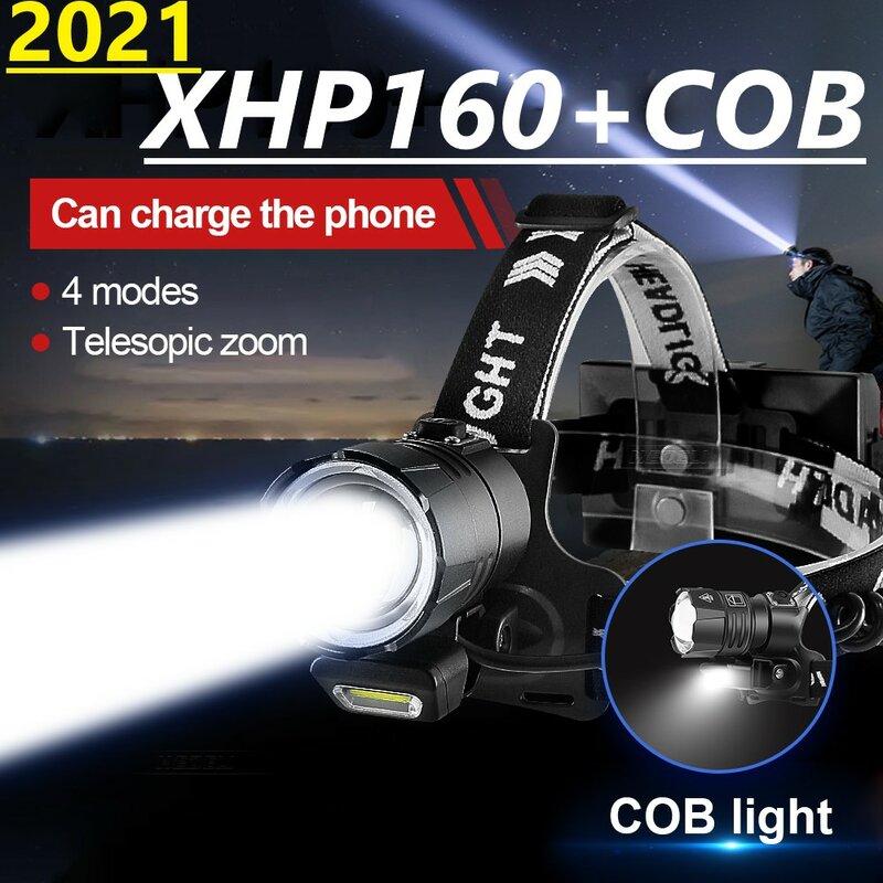 2021 Mới XHP160 Mạnh LED 18650 Đầu Sạc Đèn Pin Đội Đầu Đèn XHP90 Usb Câu Cá  Đèn Pha Đầu Đèn Pin Đèn / portable chiếu sáng