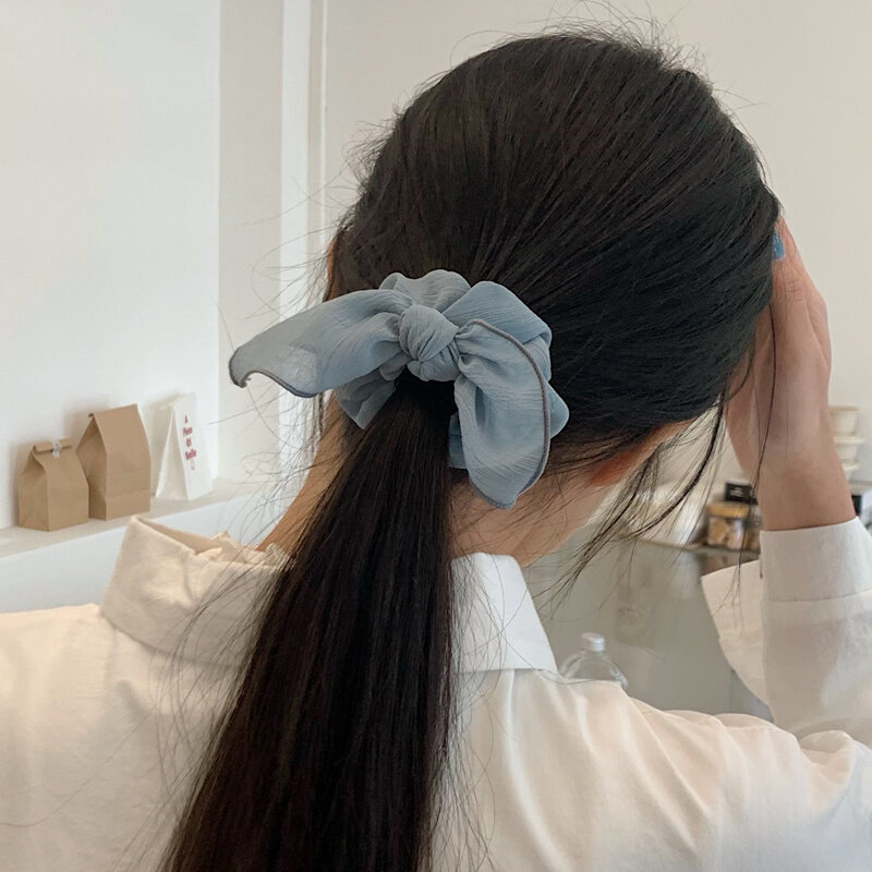 South Korea Elegant Graceful French Solid Color Large Intestine Ring Tie-up Hair Head Rope Ins Internet Celebrity Gentle Fairy