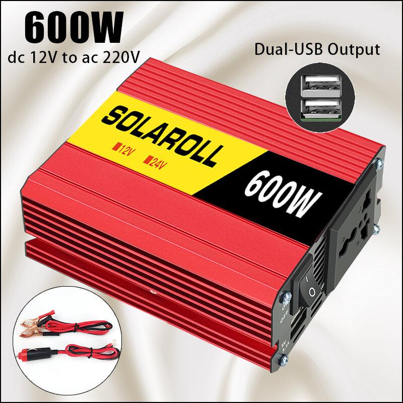 600w 1500w 2000w 자동차 전원 인버터 DC 12V AC 220V 자동 휴대용 충전기 변환기 어댑터 수정 된 사인파 범용 소켓