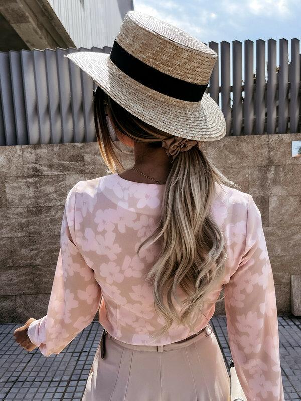 Blusas con volantes y estampado Floral para mujer, blusa informal de manga larga con cuello de pico, 2021