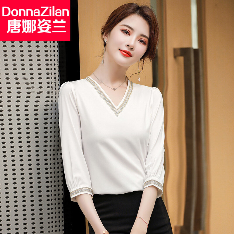 Three-quarter-length Sleeve Pink Shirt Female Design Non-mainstream 2021 Spring and Summer New Style Fashionable Stylish High