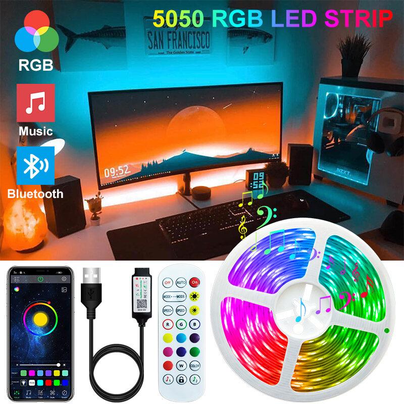 Tira de luces LED Flexible con Bluetooth, 2M, 3M, 5M, 10M, 15M, 20M, WIFI USB de diodos, iluminación de fondo de TV de fondo para pared, 5050