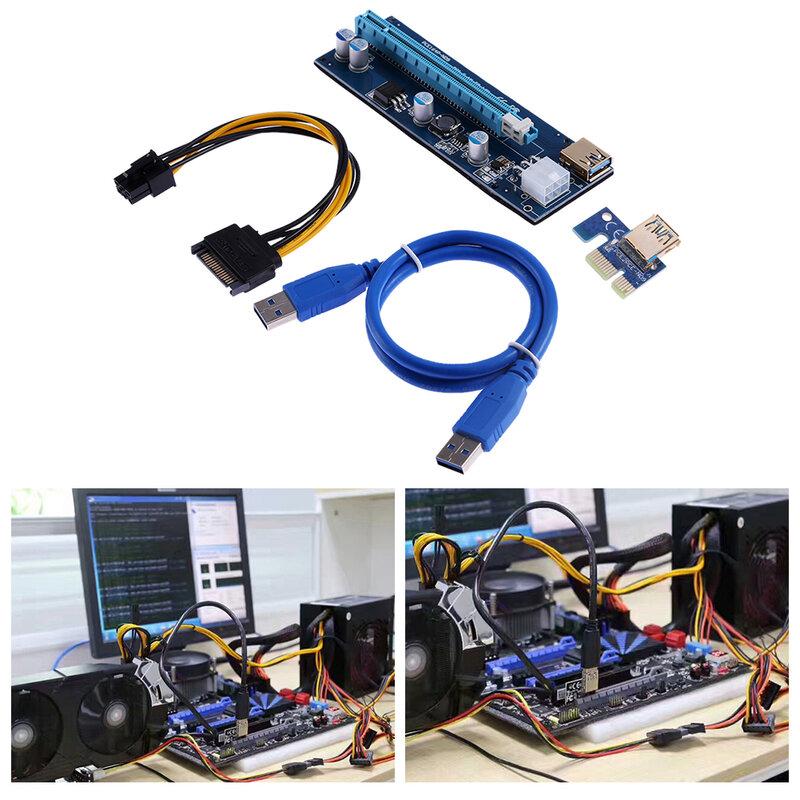 PCI-E PCI E Express 1X إلى 16X بطاقة الناهض + USB 3.0 موسع كابل SATA 15 Pin-6Pin كابل الطاقة 60 سنتيمتر للتعدين تعدين البيتكوين