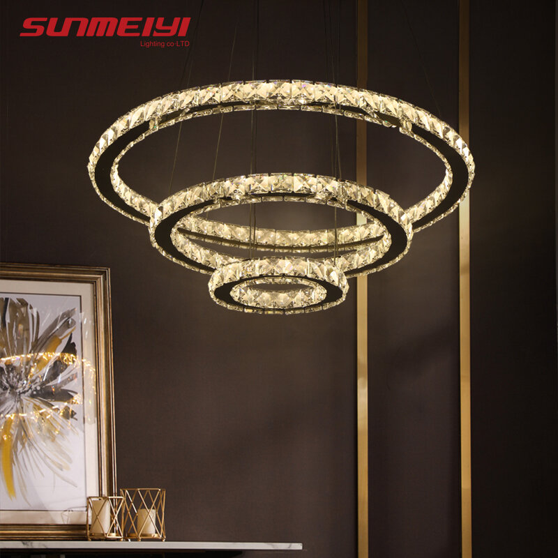 현대 LED 크리스탈 샹들리에 조명 램프 거실 크리스탈 샹들리에 조명 펜 던 트 천장 고정 장치를 교수형