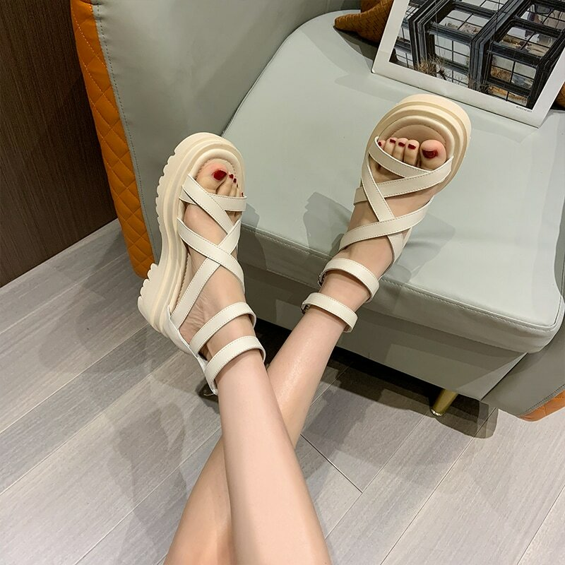 Roman Sandals Female Genuine Leather 2021 New Summer Non-slip Thick-soled Casual Sandals All-match Beach Shoes Women's Sandals