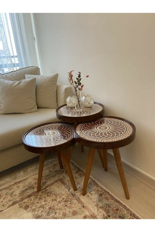 Mesa De Centro De Estilo Retro Mesa De Centro Redonda De 3 Uds Con Acabado De Zigon Esmaltado Muebles Para El Hogar