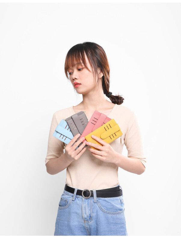 여성용 세로 RFID 신용 카드 홀더 지갑, 지퍼 동전 주머니 가죽 2021 고품질 카드 홀더