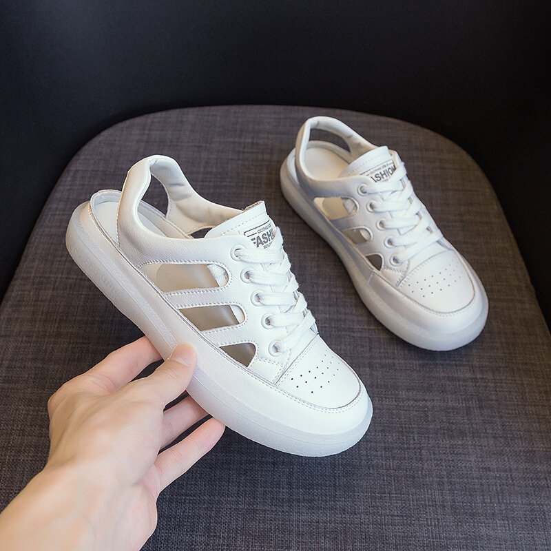 AIYUQI Women's Sneakers Hole 2021 New Genuine Leather Summer Women's Loafers Hollow Flat Nurse Sandals Women