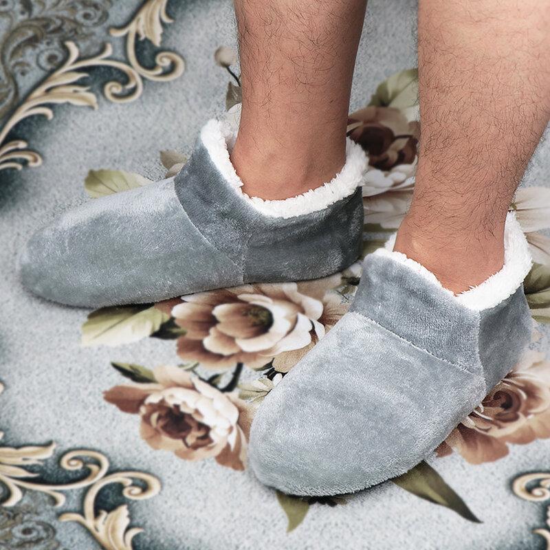 Pantoufles de maison pour hommes, grande taille 48, pantoufles d'hiver pour hommes, chaussures de sol en daim en peluche, chaussures paresseuses, chaussettes douces et chaudes