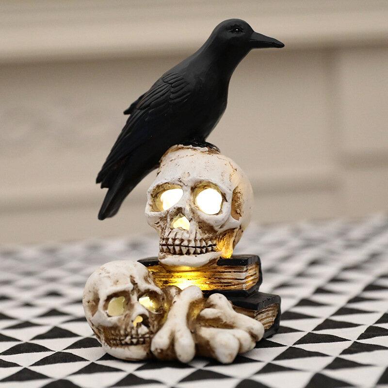 Raven Auf Schädel Halloween Dekoration Glowing Harz Skeleton Statue Kreative Requisiten Für Home Garten Hof Garten Zubehör