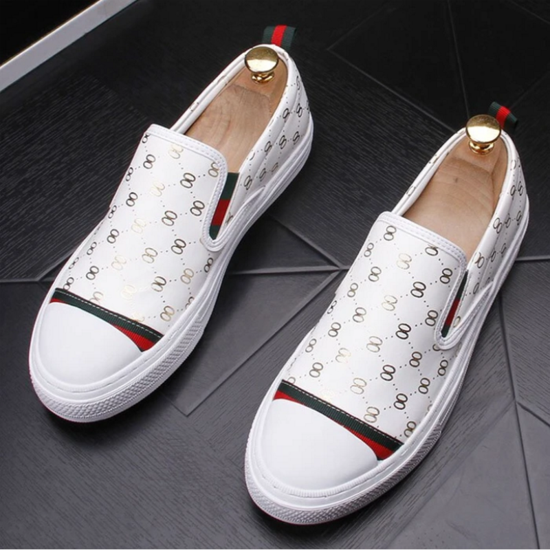 European Men's Shoes, Summer Breathable Loafers, British One-legged Lazy White Shoes, Trendy All-match Casual Shoes  ZQ0216