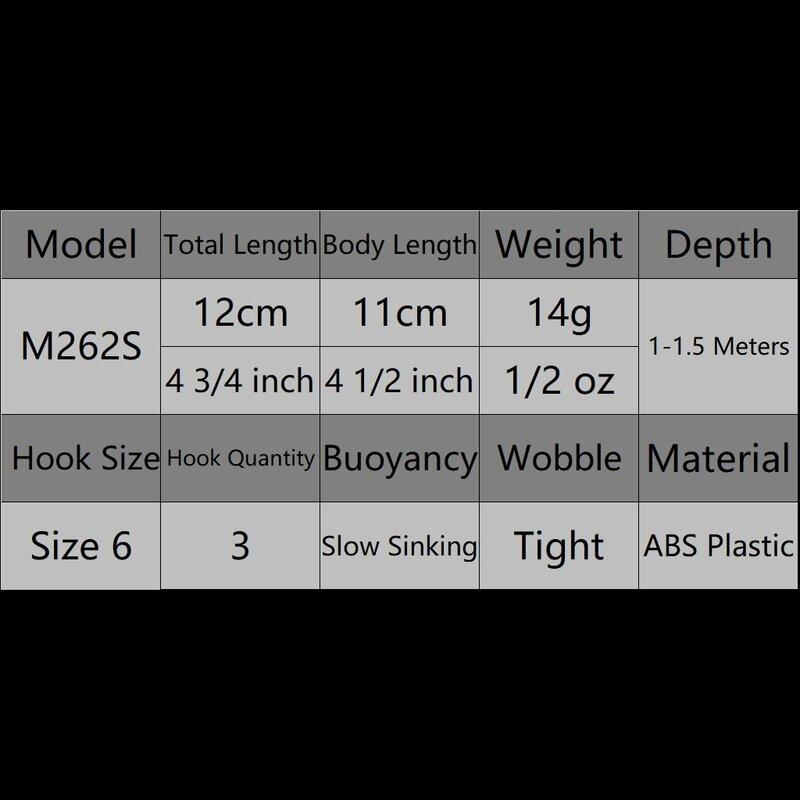 WLure 14g 12 centimetri 2 Perline di Trasferimento di Peso 2 Bead in Testa per Contrazione Facile Lungo Casting Piccolo Wobble sinking Minnow Richiamo di Pesca M262S
