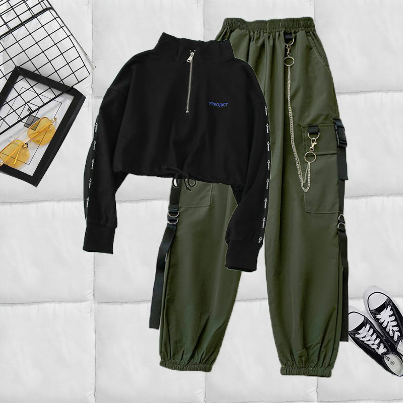 Harajuku Two-Piece Set with Black Chained Cargo Pants and Crop Top
