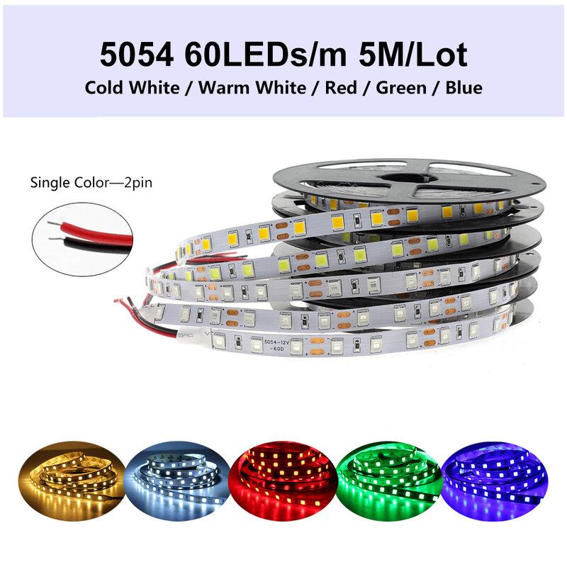 DC12V LED Strip 5054กันน้ำยืดหยุ่นริบบิ้นLED 60LEDs/M 120LEDs/Mสว่างกว่า5050 3528 12V RGBเทปไดโอด5เมตร/ล็อต