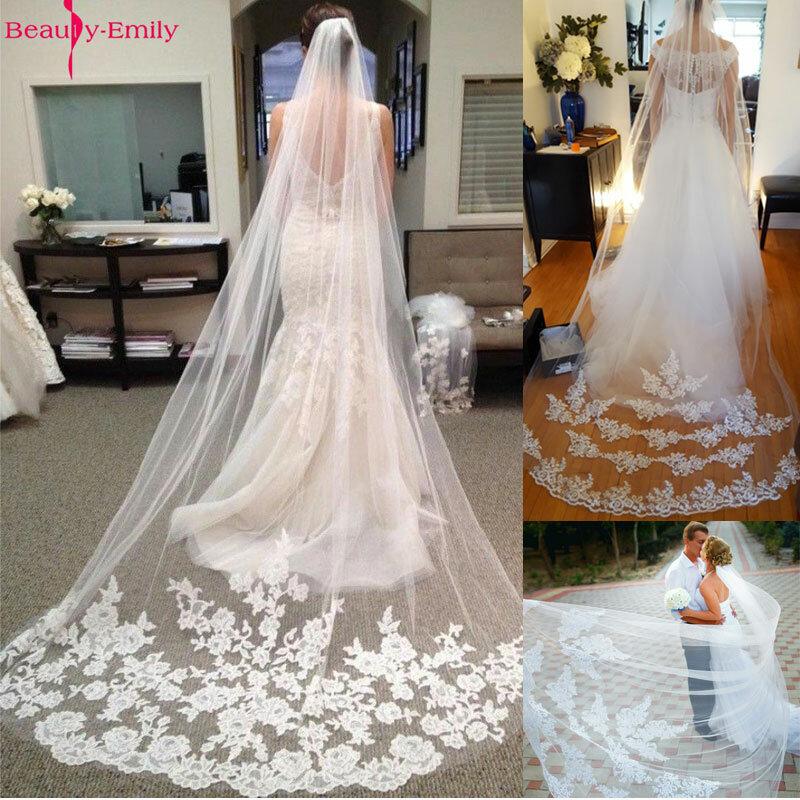 Veli da sposa accessori da sposa con bordo in pizzo cattedrale lunga Tulle Appliques 2021 veli da sposa con pettine veu de noiva longo