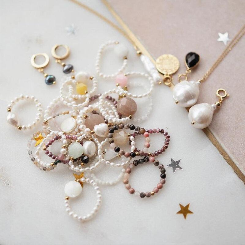 여자를위한 Momiji Boho 수제 페르시 반지 여자 패션 자연 스톤 쥬얼리 선물 도매 멀티 컬러 결혼 반지 파티