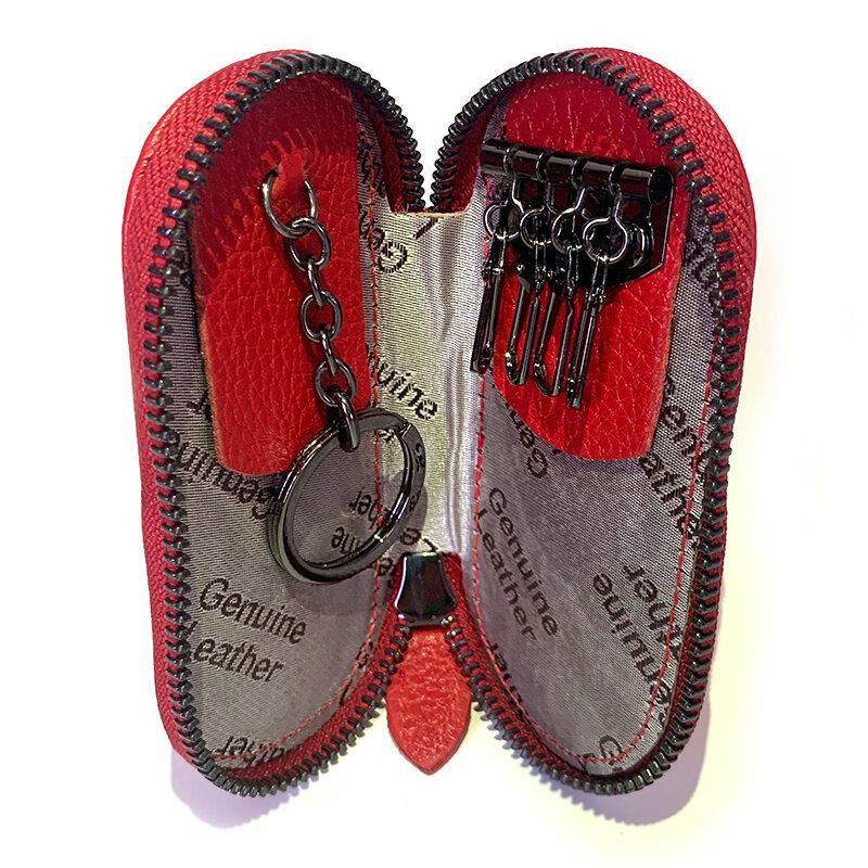 열쇠 고리 홀더 정품 가죽 지퍼 지갑 키 커버 가방 사파이어 패션 남자 키 홀더 주최자 자동차 키