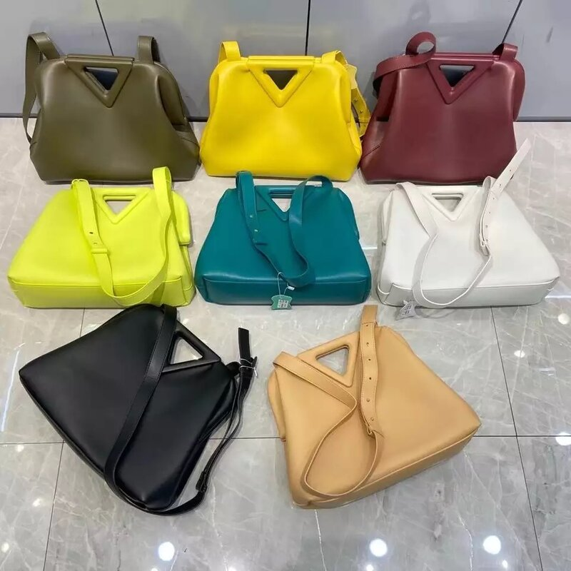 Luxury brand handbag inverted triangle candy color leather clutch purse messenger bag ladies fashion shoulder bag ladies