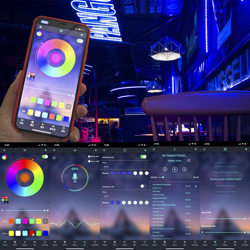 Tira de luces LED con bluetooth, cinta de lámpara flexible impermeable, RGB 5050, 2835, diodo de 12V de CC, 5 y 10 m, 32,8 pies, 20m